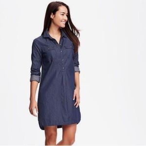 Old Navy denim chambray long sleeve dress medium